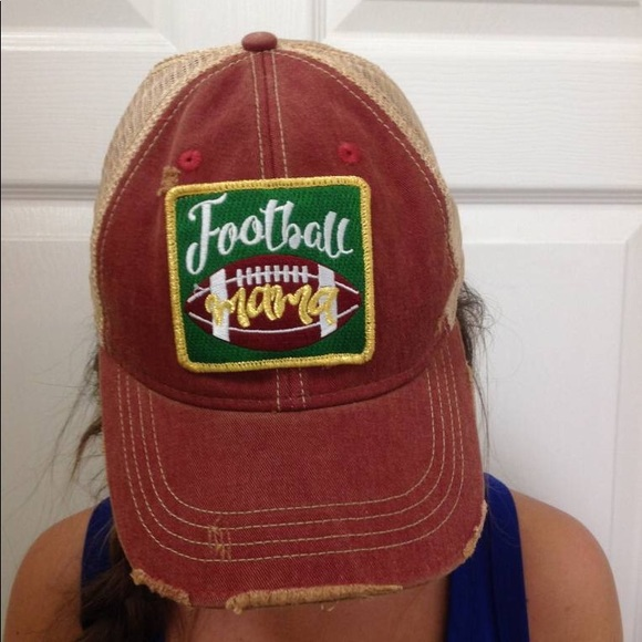 490dfbafc74 Judith March DISTRESSED In Red Football Mama HAT